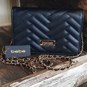 NWT Bebe Black Quilted Sophia Crossbody Purse Bag